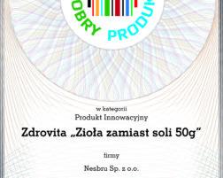 Certyfikat Dobry Produkt za 2018
